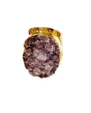 Amethyst Druzy Statement Ring in Gold