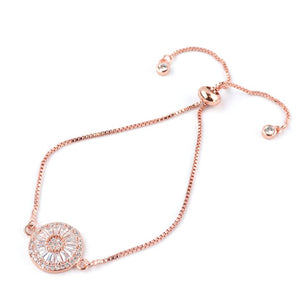 Small Harper Crystal Adjustable Bracelet in Rose Gold