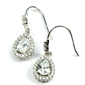 Pear shape CZ Halo Earrings