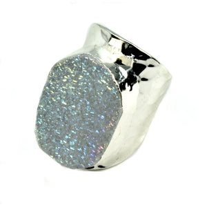 Amy Druzy Statement Ring in Silver-White