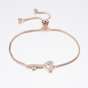 Pave Key to My Heart Bracelet