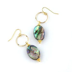 Paua Abalone Drop Earrings in Gold