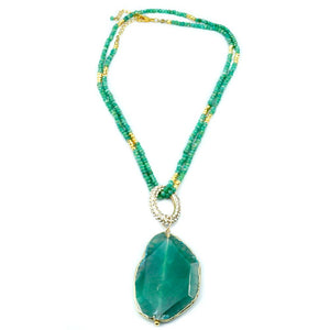 Amazonite beaded Necklace with an Agate Center Stone