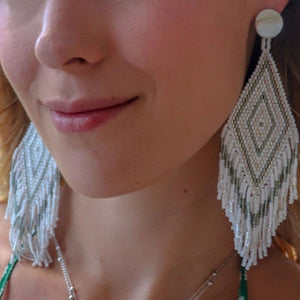 Anitha Beaded Earrings in Silver
