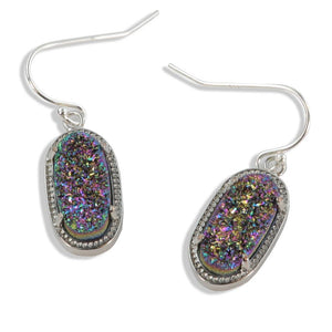 Alicia Oval Druzy Earrings in Silver