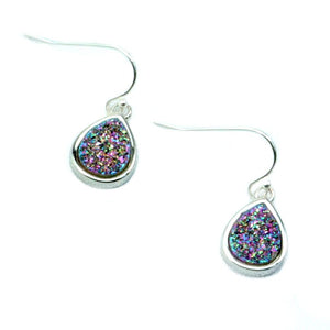 Emma Silver Druzy Teardrop Earrings
