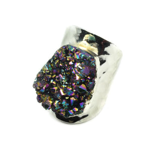 Amy Druzy Statement Ring in Silver-Rainbow