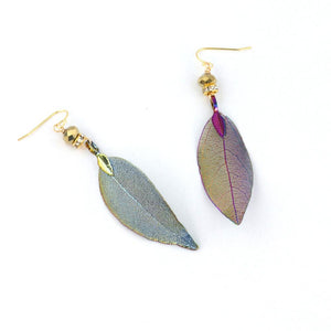 Rainbow Leaf Earrings with Sterling Silver French Wires