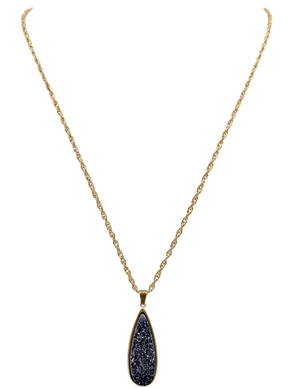 Raven Quartz Drop Necklace