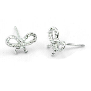 Dainty Bow Stud Earrings in Sterling Silver