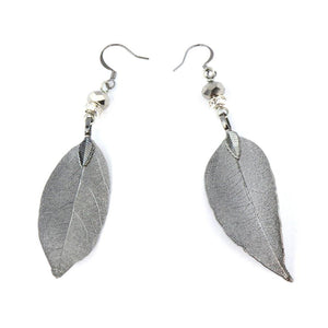 Leaf Earrings in Gunmetal