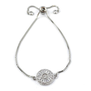 Small Harper Crystal Adjustable Bracelet in Silver