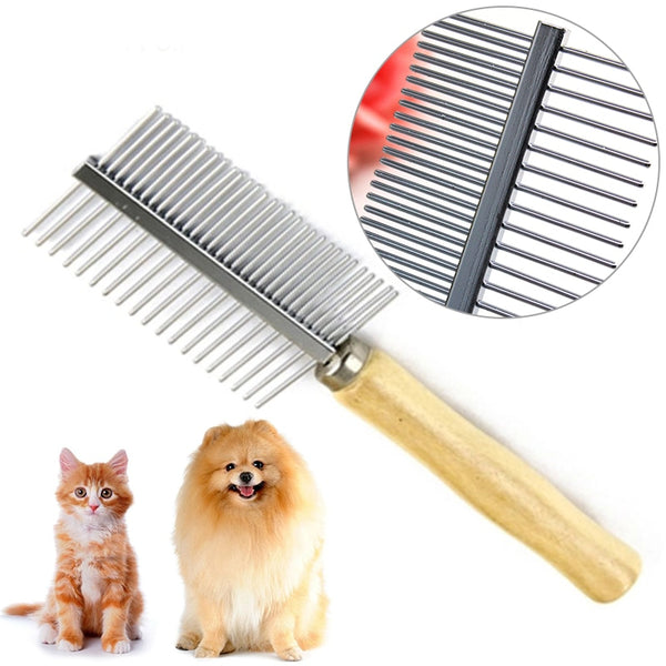 1pc Double-sided Design Pet Grooming Comb |Stainless Steel Pin Wood Handle
