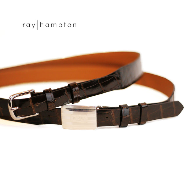 Men's Alligator Belt with Interchangeable Buckles