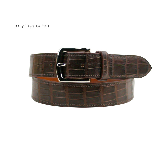 Men's Alligator Belt in Chocolate