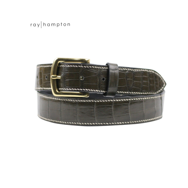 Men's Alligator Belt in Graphite