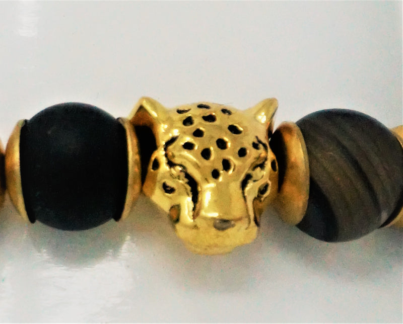 Gold and Black Panther Bead Bracelet