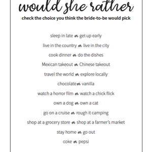 Would She Rather Bachelorette Game (set of 12)