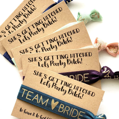She's Getting Hitched, Let's Party Bachelorette Favors | To Have And To Hold Your Hair Back, Hair Tie Favors