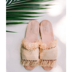 Raffia Fringe Beach Sandals
