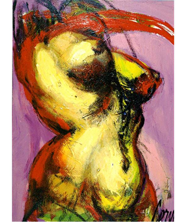 Corno Serigraph print Female Torso on Pink
