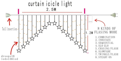 icicle curtain string light