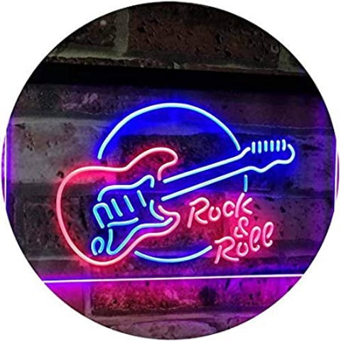 Rock & Roll Electric Guitar Dual Color LED Sign Music room recording studio Band room Led Lights