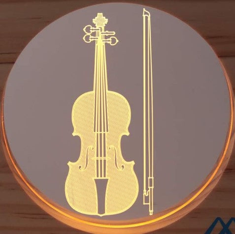 Musical Instrument Creative USB Night Light Natural wooden frame & durable acrylic panel Night lamp. Warm white light source help sleeping. Suit Scene: nursery Decoration, Baby room, Kids room, Bedside night light. boy kids girls adults friends gift. Christmas gift Musical Instrument patterns Guitar, Piano, Cello, Electric Guitar Musical Instrument Creative USB Night Light Wooded Frame  music room recording studio
