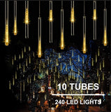 240 LED Meteor Shower Raindrop Lights Tubes LED Meteor Shower Raindrop Lights with Timer Function Cascading Lights LED Icicle Lights Falling Raindrop Lights for Holiday Party Wedding Christmas Tree Decoration  Ornaments