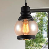 Bell\Ball Dimmable Pendant Lights Glass Hanging Lights with Plug in Cord and On/Off Dimmer Switch, Industrial Edison Vintage Swag Pendant Lamps for Kitchen Island Table Dining Room Bedroom Hallway