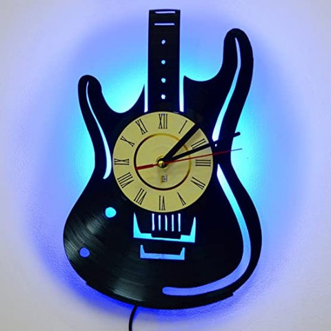 Guitar Led lamp clock for music lovers guitar recording sturio music room