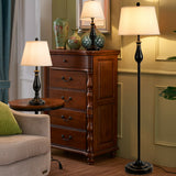3 Pcs Brushed Nickel Lamp Set