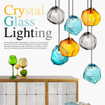 G9 Ice Cube Shape Glass Stone Pendant Lamp