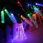 8M 40 LED Solar Icicle Water Drop Fairy Lights