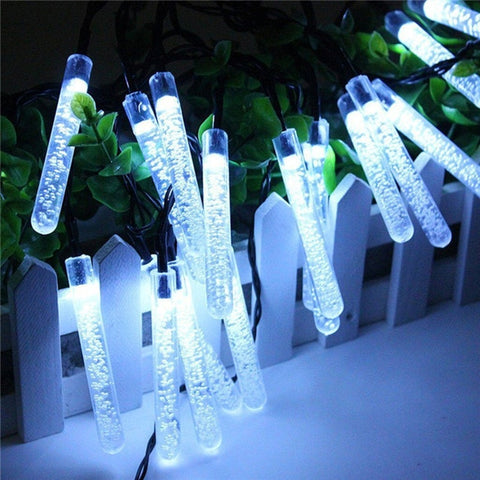 5M 20 LED Solar Icicle Water Drop Fairy Lights