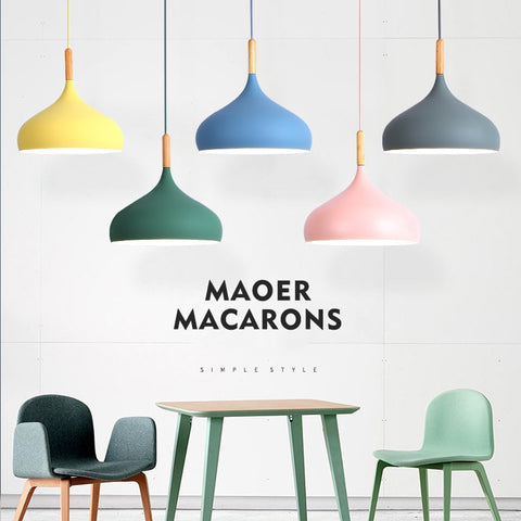 E27 Macarons Shape LED Aluminum Pendant Lights