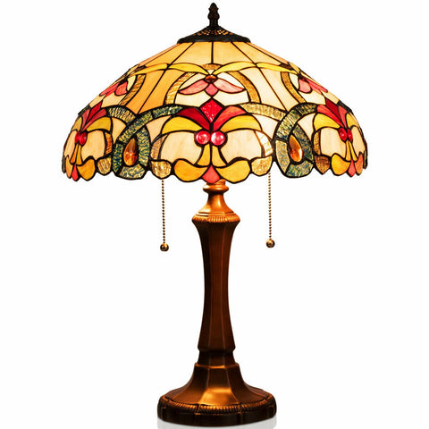 "16"" Stained Tiffany Style Table Lamp"
