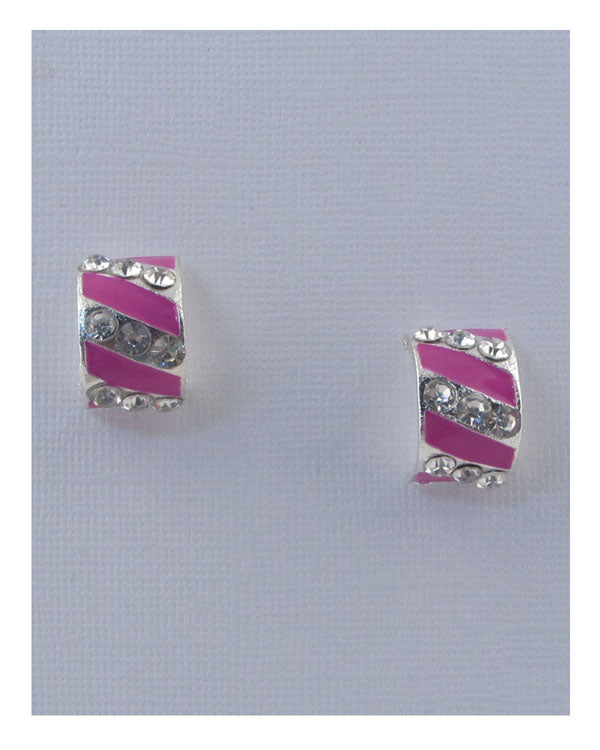 Striped stud earrings w/rhinestone