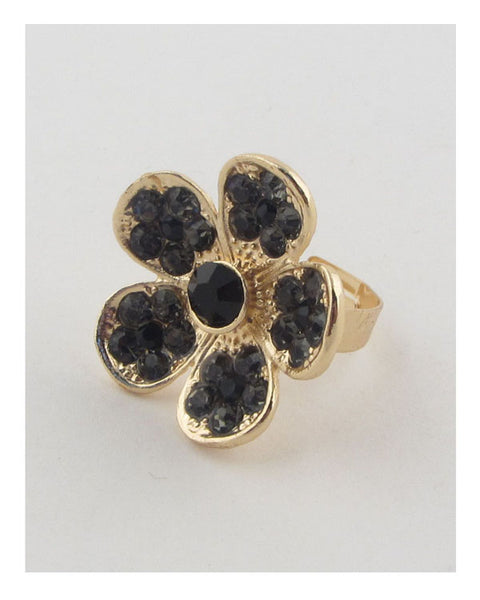 Flower rhinestone adjustable ring