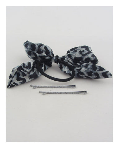 Hair elastic w/animal print bow