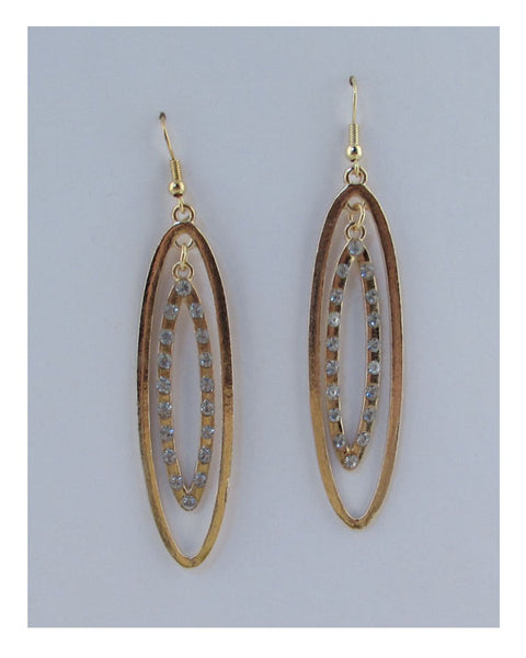 Drop oval earrings w/rhinestone
