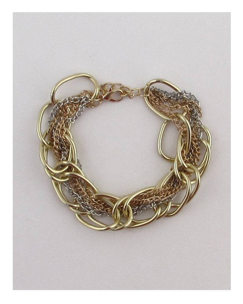 Large multi chain strand bracelet