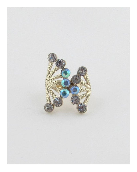 Adjustable rhinestone fan ring