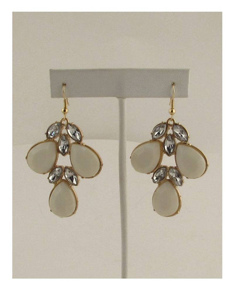 Multi-stone cluster drop hook earrings