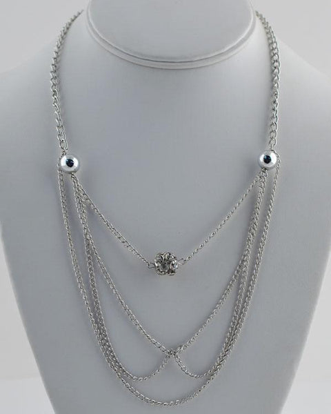 Layered faux pearl chain necklace w/ rhinestone detail