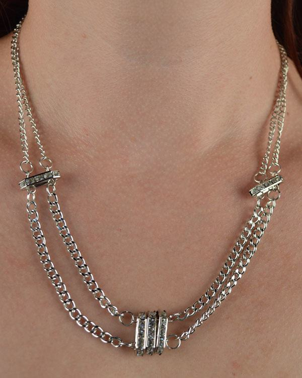 Double Chain Necklace w/ Rhinestone Detail
