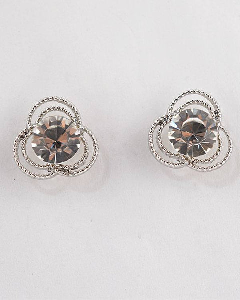 Faceted Crystal Textured Stud Earring