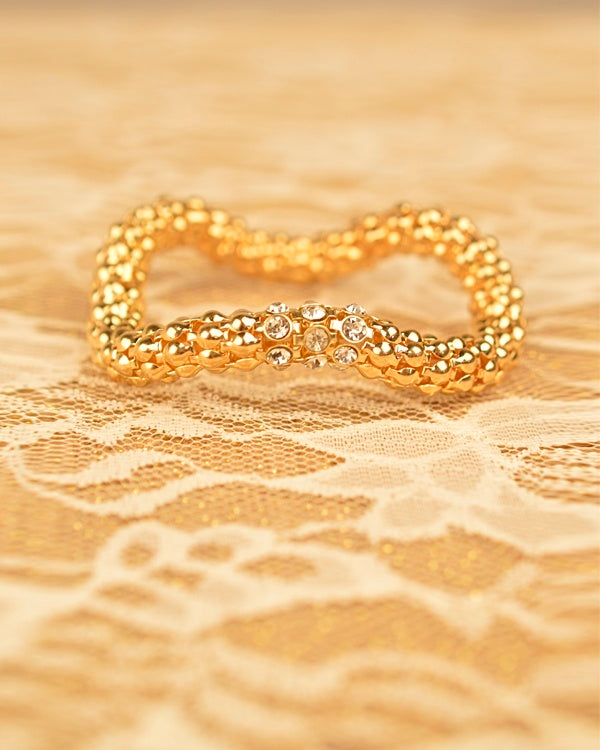 Rhinestone Accented Stretchable Gold Bracelet