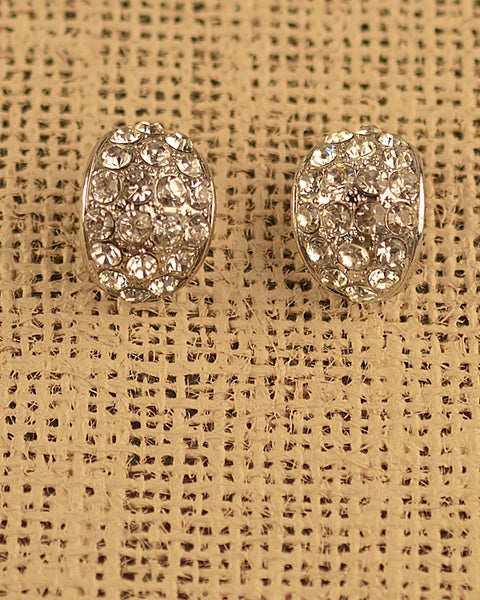 Oval Shaped Stone Studded Earrings