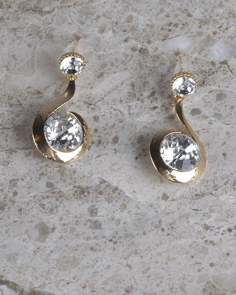 Curved Rhinestone Dangle Earring